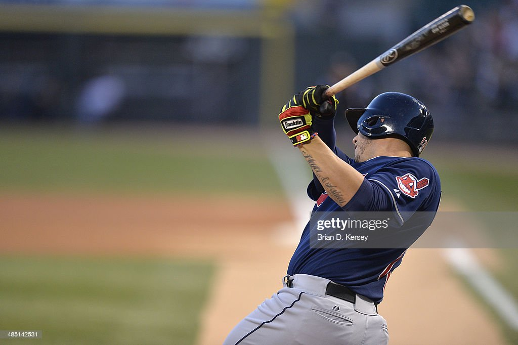<a gi-track='captionPersonalityLinkClicked' href=/galleries/search?phrase=Asdrubal+Cabrera&family=editorial&specificpeople=834042 ng-click='$event.stopPropagation()'>Asdrubal Cabrera</a> #13 of the Cleveland Indians bats during the first inning against the Chicago White Sox at U.S. Cellular Field on April 11, 2014 in Chicago, Illinois. The White Sox defeated the Indians 9-6.