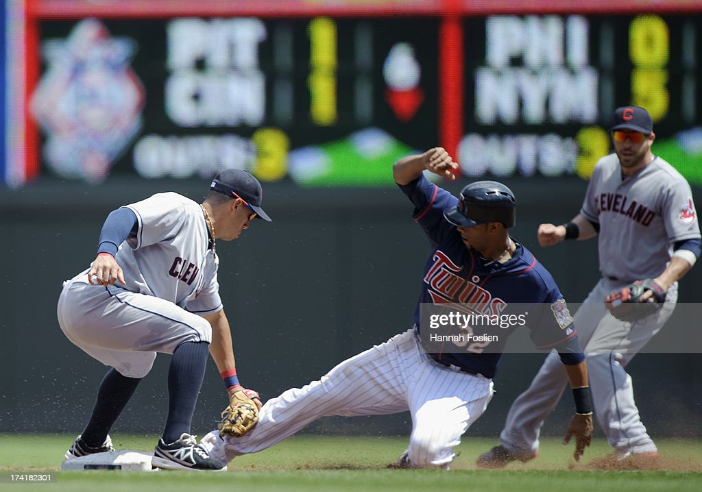 Asdrubal Cabrera #13 of the Cleveland Indians catches <a gi-track='captionPersonalityLinkClicked' href=/galleries/search?phrase=Aaron+Hicks&family=editorial&specificpeople=5471630 ng-click='$event.stopPropagation()'>Aaron Hicks</a> #32 of the Minnesota Twins stealing second base during the third inning of the game on July 21, 2013 at Target Field in Minneapolis, Minnesota.