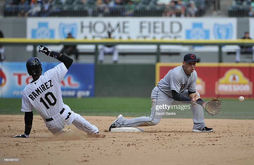 <a gi-track='captionPersonalityLinkClicked' href=/galleries/search?phrase=Asdrubal+Cabrera&family=editorial&specificpeople=834042 ng-click='$event.stopPropagation()'>Asdrubal Cabrera</a> #13 of the Cleveland Indians forces out <a gi-track='captionPersonalityLinkClicked' href=/galleries/search?phrase=Alexei+Ramirez&family=editorial&specificpeople=690568 ng-click='$event.stopPropagation()'>Alexei Ramirez</a> #10 of the Chicago White Sox during the fifth inning on September 13, 2013 at U.S. Cellular Field in Chicago, Illinois.
