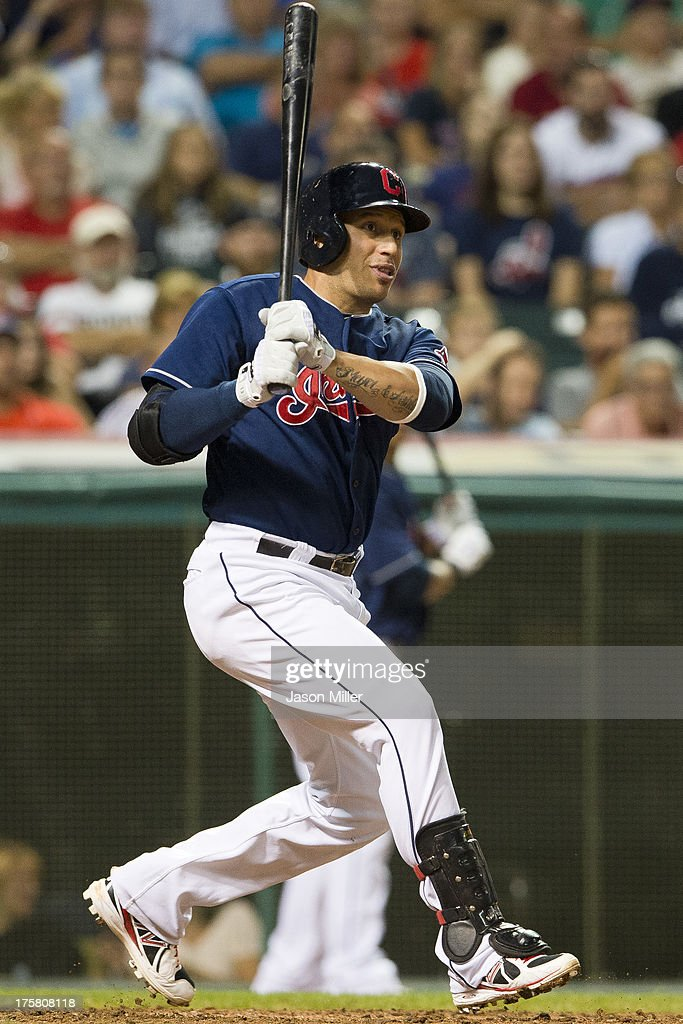<a gi-track='captionPersonalityLinkClicked' href=/galleries/search?phrase=Asdrubal+Cabrera&family=editorial&specificpeople=834042 ng-click='$event.stopPropagation()'>Asdrubal Cabrera</a> #13 of the Cleveland Indians hits an RBI double during the sixth inning against the Detroit Tigers at Progressive Field on August 8, 2013 in Cleveland, Ohio.