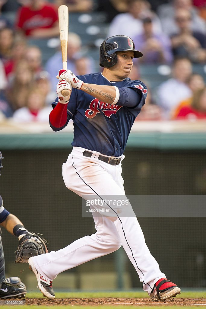 <a gi-track='captionPersonalityLinkClicked' href=/galleries/search?phrase=Asdrubal+Cabrera&family=editorial&specificpeople=834042 ng-click='$event.stopPropagation()'>Asdrubal Cabrera</a> #13 of the Cleveland Indians hits an RBI single during the second inning against the Detroit Tigers at Progressive Field on May 20, 2014 in Cleveland, Ohio.
