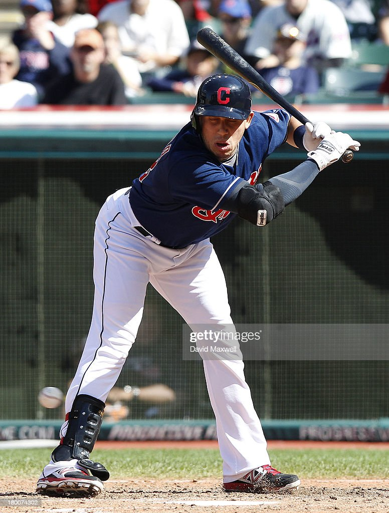 <a gi-track='captionPersonalityLinkClicked' href=/galleries/search?phrase=Asdrubal+Cabrera&family=editorial&specificpeople=834042 ng-click='$event.stopPropagation()'>Asdrubal Cabrera</a> #13 of the Cleveland Indians is hit by a pitch with the bases loaded against the New York Mets during the sixth inning of their game on September 8, 2013 at Progressive Field in Cleveland, Ohio. The Mets defeated the Indians 2-1.
