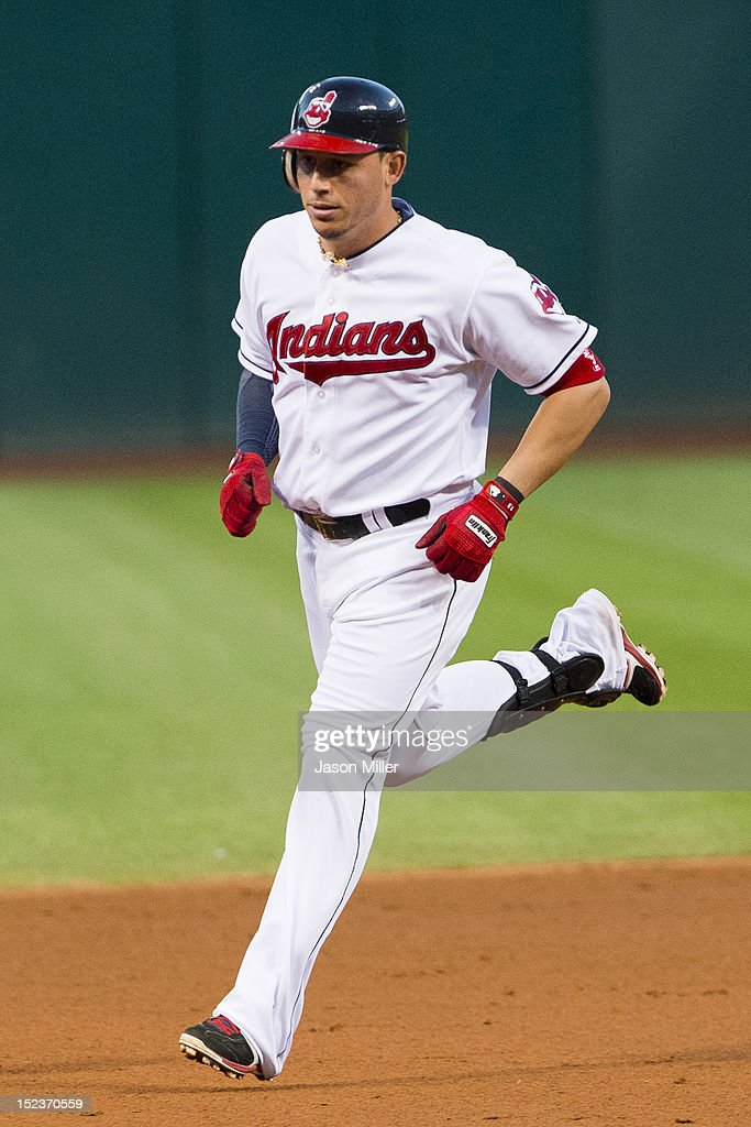 <a gi-track='captionPersonalityLinkClicked' href=/galleries/search?phrase=Asdrubal+Cabrera&family=editorial&specificpeople=834042 ng-click='$event.stopPropagation()'>Asdrubal Cabrera</a> #13 of the Cleveland Indians rounds the bases after hitting a solo home run during the first inning against the Minnesota Twins at Progressive Field on September 19, 2012 in Cleveland, Ohio.