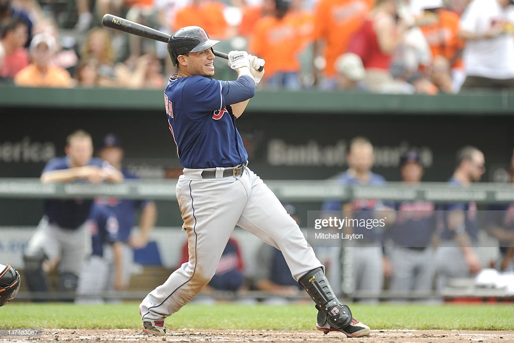 Asdrubal Cabrera #13 of the Cleveland Indians takes a swing during a baseball game against the Baltimore Orioles at Oriole Park at Camden Yards on June 30, 2012 in Baltimore, Maryland.