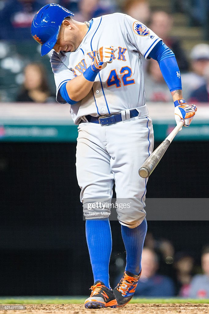 Asdrubal Cabrera #13 of the New York Mets grimaces after being hit by a pitch from <a gi-track='captionPersonalityLinkClicked' href=/galleries/search?phrase=Trevor+Bauer+-+Baseball+Player&family=editorial&specificpeople=11364936 ng-click='$event.stopPropagation()'>Trevor Bauer</a> #47 of the Cleveland Indians during the seventh inning at Progressive Field on April 15, 2016 in Cleveland, Ohio. All players are wearing #42 in honor of Jackie Robinson Day.