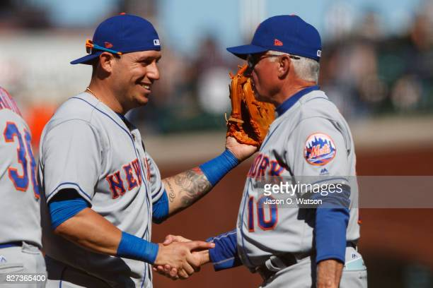 Asdrubal Cabrera of the New York Mets shakes hands with manager Terry Collins after the game against the San Francisco Giants at ATT Park on June 25...