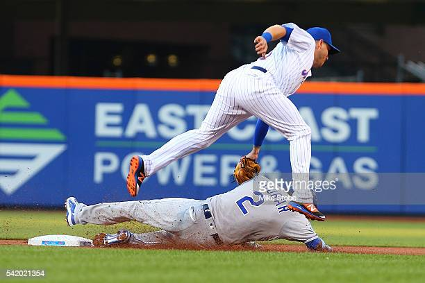 Asdrubal Cabrera of the New York Mets tags out Alcides Escobar of the Kansas City Royals attempting to steal second base in the first inning at Citi...