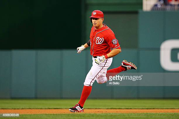 Asdrubal Cabrera of the Washington Nationals rounds the bases after hitting a home run in the seventh inning against the San Francisco Giants during...