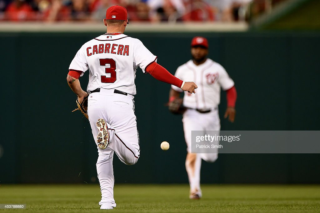 <a gi-track='captionPersonalityLinkClicked' href=/galleries/search?phrase=Asdrubal+Cabrera&family=editorial&specificpeople=834042 ng-click='$event.stopPropagation()'>Asdrubal Cabrera</a> #3 of the Washington Nationals watches a hit by Didi Gregorius #1 of the Arizona Diamondbacks (not pictured) fall to the ground in the third inning at Nationals Park on August 18, 2014 in Washington, DC.