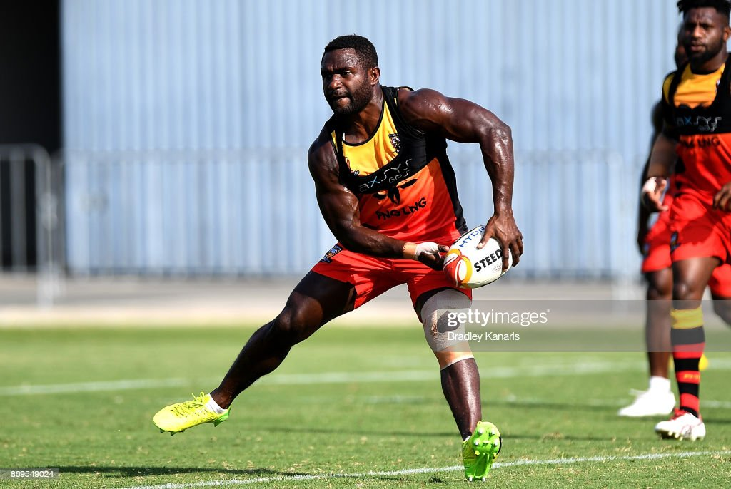 Ase Boas passes the ball during a Papua New Guinea Kumuls Rugby League World Cup training session at the Oil Search National Football Stadium on November 3, 2017 in Port Moresby, Papua New Guinea.