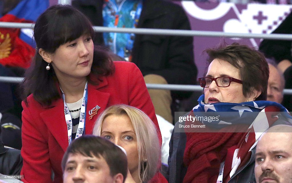 Asel Roberts of the US State Department (L) and tennis legend Billie Jean King attend the Men's Ice Hockey Bronze Medal Game between Finland and the United States on Day 15 of the 2014 Sochi Winter Olympics at Bolshoy Ice Dome on February 22, 2014 in Sochi, Russia.