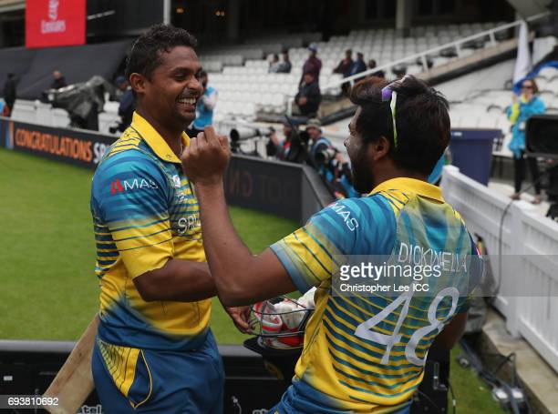 Asela Gunaratne of Sri Lanka celebrates their victory with Niroshan Dickwella during the ICC Champions Trophy Group B match between India and Sri...