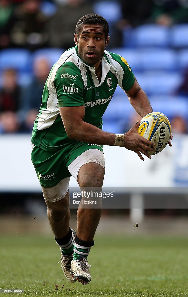 Aseli Tikoirotuma of London Irish in action during the Aviva Premiership match between London Irish and Worcester Warriors at Madejski Stadium on February 7, 2016 in Reading, England.