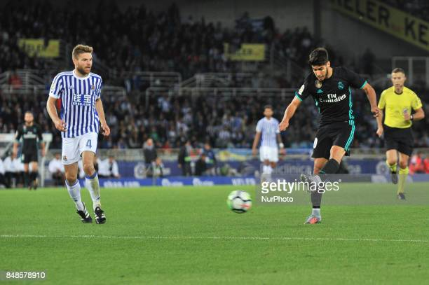 Asensio of Real Madrid during the Spanish league football match between Real Sociedad and Real Madrid at the Anoeta Stadium on 17 September 2017 in...