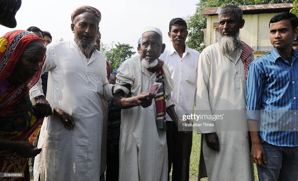 Asgar Ali 103 years old enclave dweller arrives at polling station to cast his vote for the first time at Maddhya Mashaldanga, Chhitmahal on May 5, 2016 in Coochbehar, India. More than 9,800 of the 10,100 eligible voters in former Bangladeshi enclaves of West Bengals Cooch Behar have enrolled for the voter list, signalling exceptional enthusiasm among the people who became Indian citizens less than nine months ago. These people have lived in a virtual no-mans land for 68 years because of a complex territorial division, which created enclaves or islands of foreign territory inside each country along the Indo-Bangladesh border. The two countries agreed in 2015 to swap the almost 200 enclaves located in one country but officially belonging to the other.