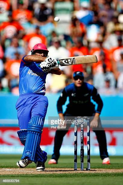 Asghar Stanikzai of Afghanistan bats during the 2015 ICC Cricket World Cup match between New Zealand and Afghanistan at McLean Park on March 8 2015...