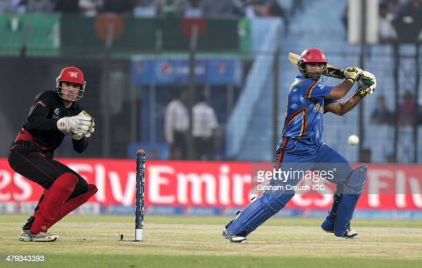 Asghar Stanikzai of Afghanistan batting during Afghanistan v Hong Kong match at the ICC World Twenty20 Bangladesh 2014 played at Zahur Ahmed...