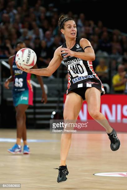 Ash Brazill of the Magpies looks to make a pass during round one of the Super Netball match between the Vixens and Magpies at Hisense Arena on...