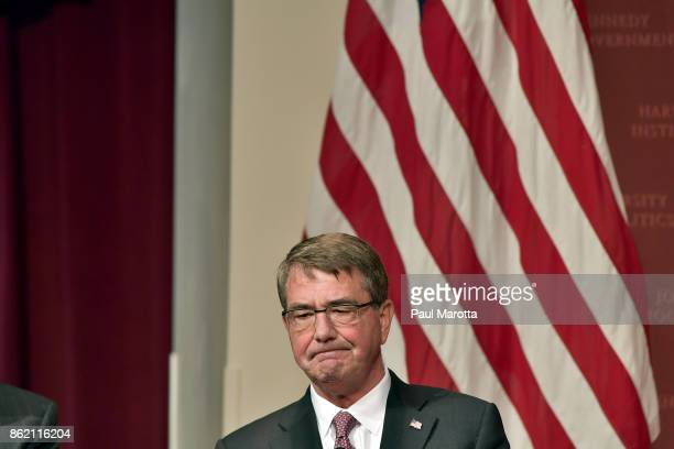 Ash Carter speaks at the Harvard University John F Kennedy Jr Forum in a program titled 'Perspectives on National Security' moderated by Rachel...