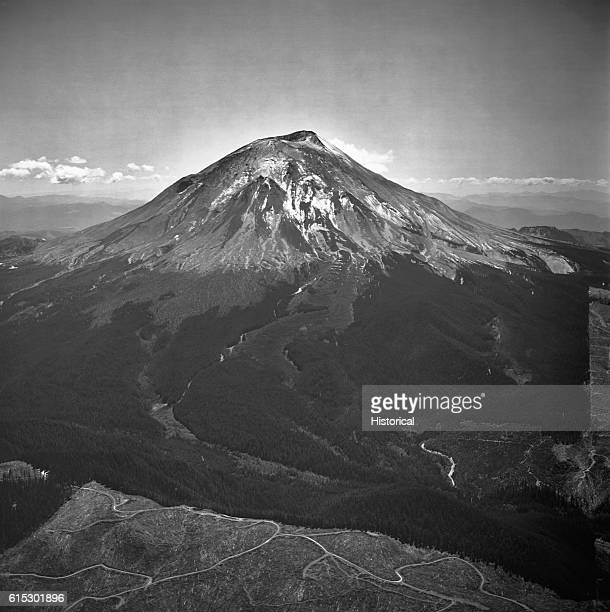 Ash coats the flanks of Mount Saint Helens in the Washington Cascades Note the bulge on the north side of the mountain May 17 1980 | Location...