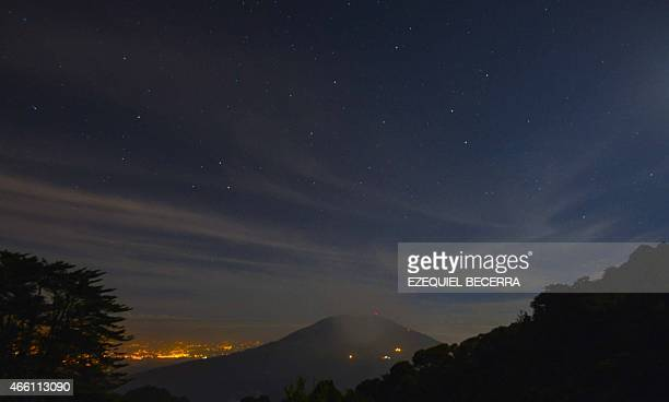 Ash from the Turrialba volcano heads towards San Jose and its surroundings on March 13 2015 The volcano showered nearby towns with ash forcing...