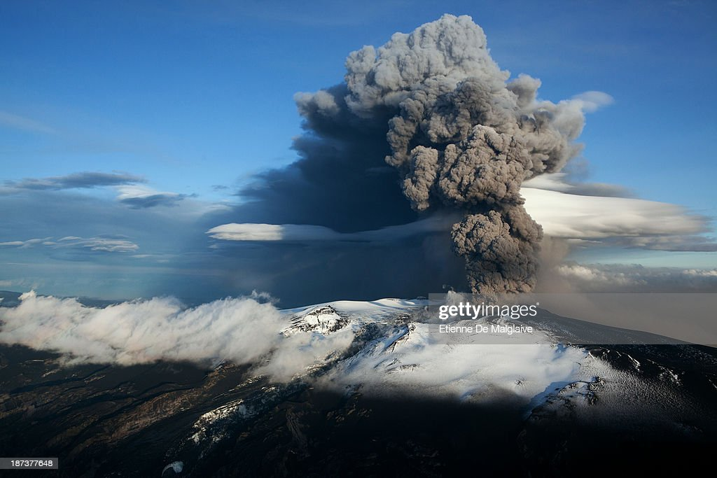 Ash plume from Iceland's Eyjafjallajokull crater during it's eruption, spewing tephra and ashes that drift toward continental Europe on May 15, 2010 near Reykjavik, Iceland. On this day the ash cloud rose to an average of 6 km (20,000 ft) peaking at 8 km (26,000 ft) said Icelandic Meteorological Office and Institute of Earth Sciences, University of Iceland.