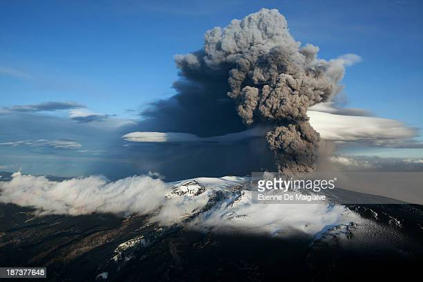 Ash plume from Iceland's Eyjafjallajokull crater during it's eruption spewing tephra and ashes that drift toward continental Europe on May 15 2010...