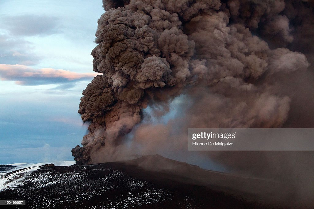 Ash plumes from Eyjafjallajokull's crater during it's eruption, spewing tephra and ashes that drift toward continental Europe on May 15, 2010 near Reykjavik, Iceland.