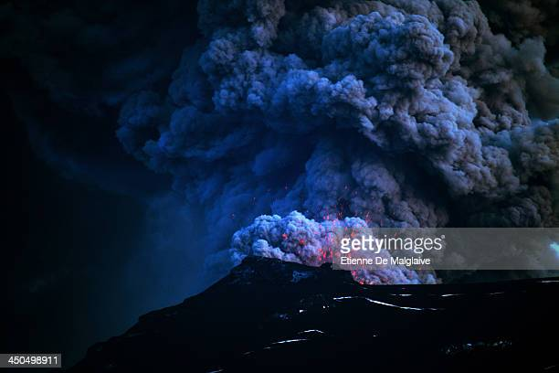 Ash plumes from Iceland's Eyjafjallajokull crater during it's eruption spewing tephra and ashes that drift toward continental Europe on May 9 2010...