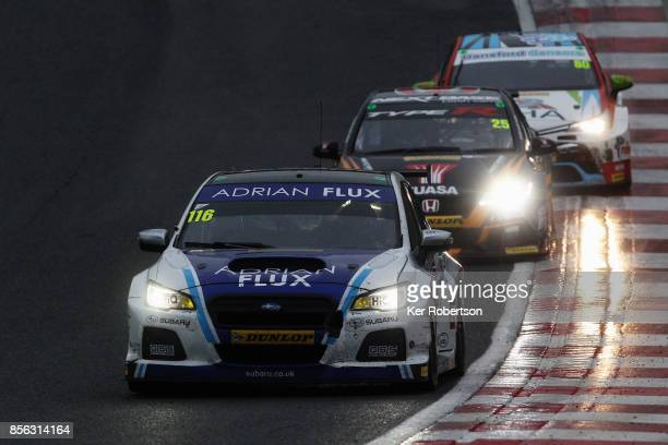Ash Sutton of Adrian Flux Subaru Racing drives on his way to winning this years British Touring Car Championship after the final race at Brands Hatch...