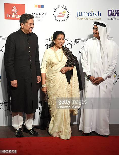 Asha Bhosle and DIFF Chairman Abdulhamid Juma attends the Opening Night Gala during day one of the 11th Annual Dubai International Film Festival held...