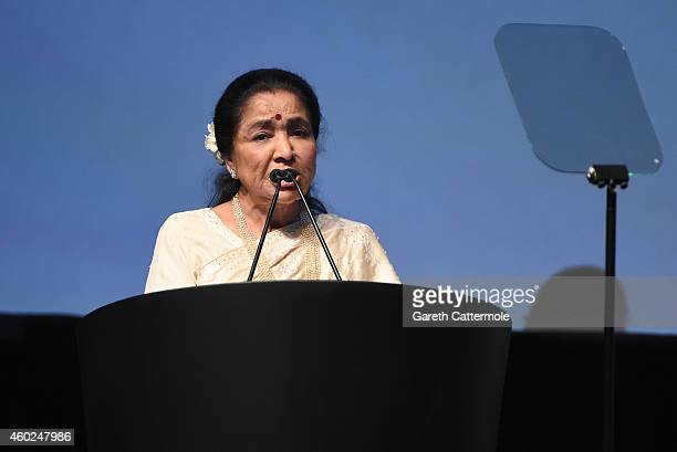 Asha Bhosle on stage as she receives the Lifetime Achievement award at the Opening Night Gala during day one of the 11th Annual Dubai International...
