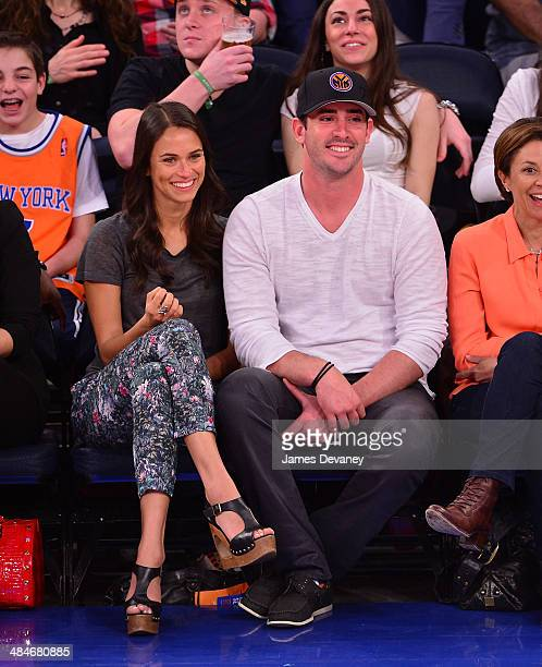 Asha Leo and Matt Harvey attend the Chicago Bulls vs New York Knicks game at Madison Square Garden on April 13 2014 in New York City