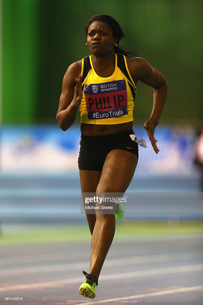 <a gi-track='captionPersonalityLinkClicked' href=/galleries/search?phrase=Asha+Philip&family=editorial&specificpeople=2159482 ng-click='$event.stopPropagation()'>Asha Philip</a> competes in the women's 60m heats during day one of the British Athletics European Trials & UK Championship at the English Institute of Sport on February 9, 2013 in Sheffield, England.