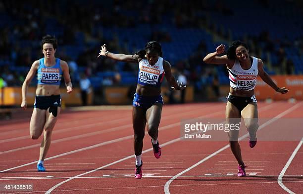Asha Philip crosses the line to win the Women's 100m Final during day three of the Sainsbury's British Championships at Birmingham Alexander Stadium...