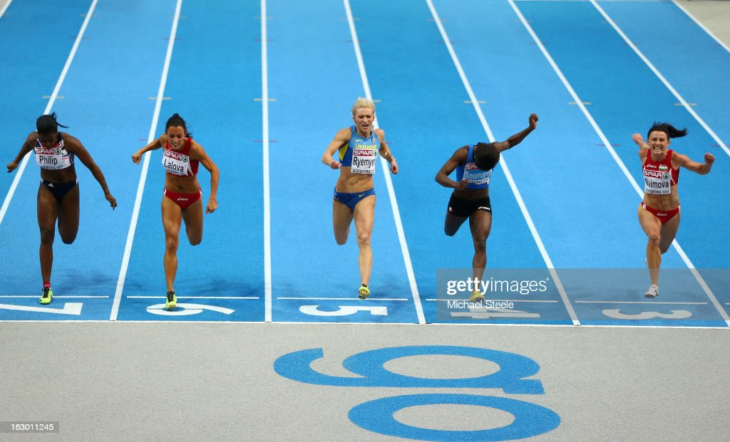 Asha Philip of Great Britain and Northern Ireland, Ivet Lalova of Bulgaria, silver medalist Mariya Ryemyen of Ukraine, bronze medalist Myriam Soumare of France and gold medalist Tezdzhan Naimova of Bulgaria cross the line in the Women's 60m Final during day three of European Indoor Athletics at Scandinavium on March 3, 2013 in Gothenburg, Sweden.