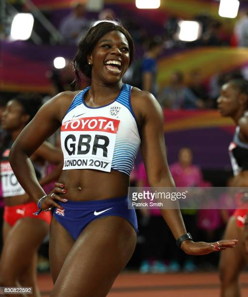 Asha Philip of Great Britain celebrate winning silver in the Women's 4x100 Metres Final during day nine of the 16th IAAF World Athletics...