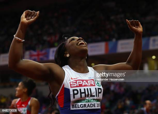Asha Philip of Great Britain celebrates after winning the gold medal during the Women's 60 metres final on day three of the 2017 European Athletics...