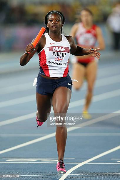 Asha Philip of Great Britain competes in the Women's 4x200 metres relay final during day two of the IAAF World Relays at the Thomas Robinson Stadium...