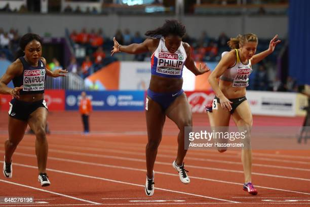 Asha Philip of Great Britain wins the gold medal during the Women's 60 metres final on day three of the 2017 European Athletics Indoor Championships...