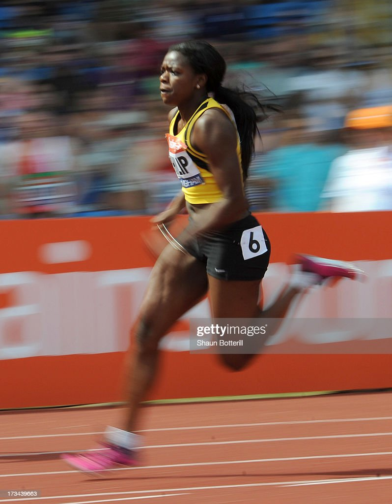 Asha Philip of Newham E B competes in the Women's 200 Metres Final during the Sainsbury's British Athletics World Trials and UK & England Championships at Birmingham Alexander Palace on July 14, 2013 in Birmingham, England.