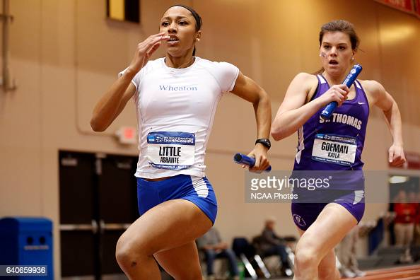Ashante Little of Wheaton and Kayla Goeman of St Thomas race in the women's 4x400 relay at the Division III Men's and Women's Indoor Track and Field...
