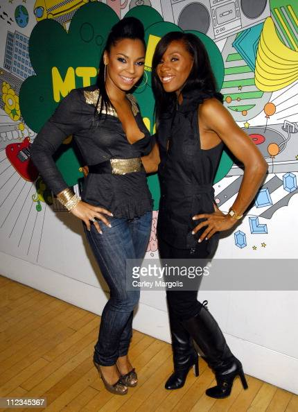 Ashanti and June Ambrose during Ashanti June Ambrose Jibbs and Esso Visit 'Sucker Free' on MTV November 28 2006 at MTV Studios in New York City New...