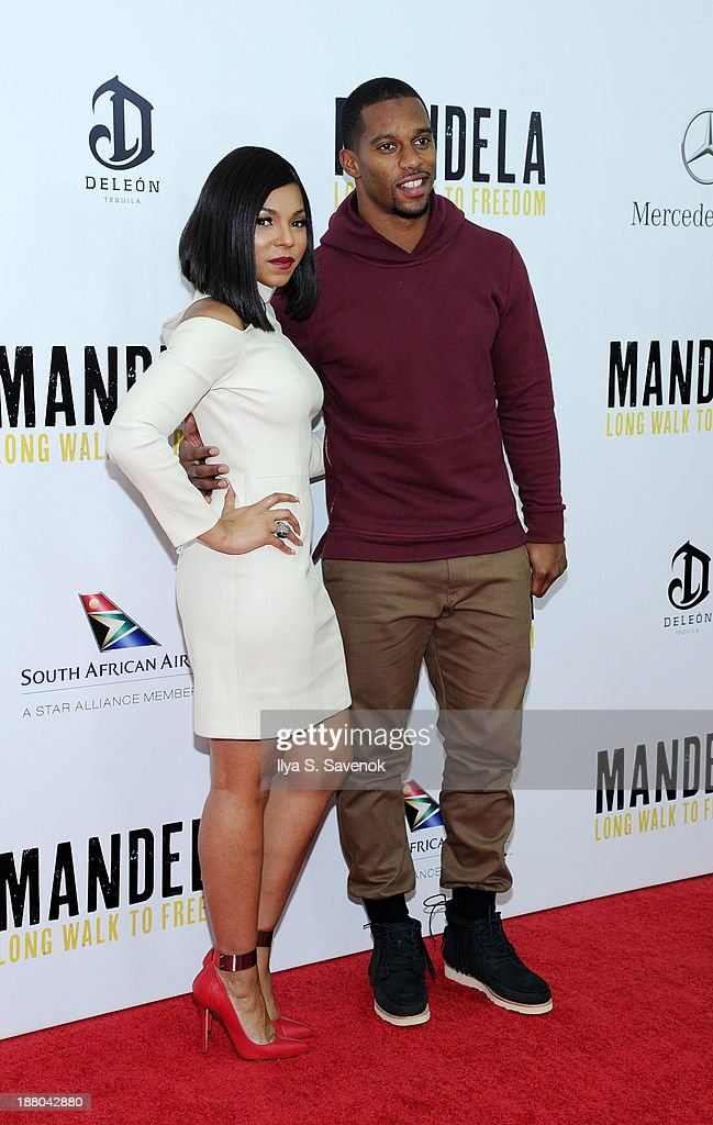 Ashanti and Victor Cruz attend the New York premiere of 'Mandela Long Walk To Freedom' hosted by The Weinstein Company Yucaipa Films and Videovision...