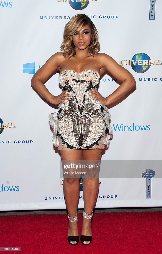 Ashanti arrives at the Universal Music Group 2014 Post GRAMMY Party at The Ace Hotel Theater on January 26, 2014 in Los Angeles, California.