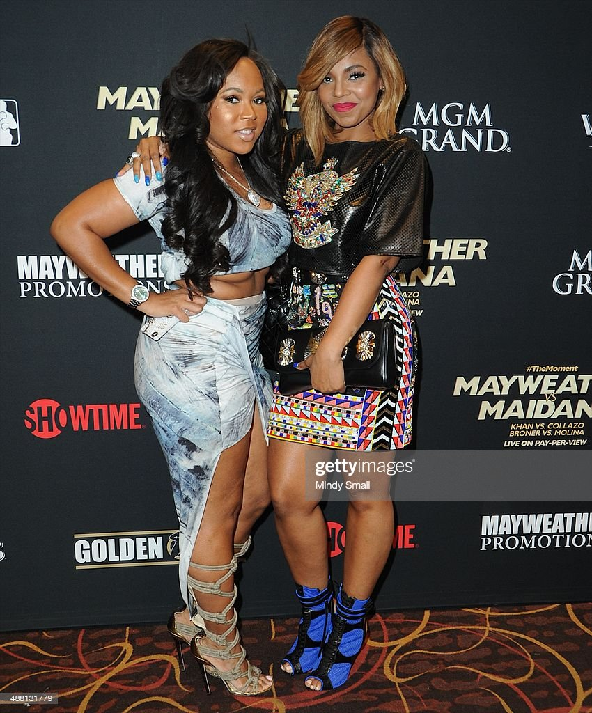 <a gi-track='captionPersonalityLinkClicked' href=/galleries/search?phrase=Ashanti&family=editorial&specificpeople=146300 ng-click='$event.stopPropagation()'>Ashanti</a> (R) attends the Mayweather Vs. Maidana Pre-Fight Party Presented By Showtime at MGM Garden Arena on May 3, 2014 in Las Vegas, Nevada.