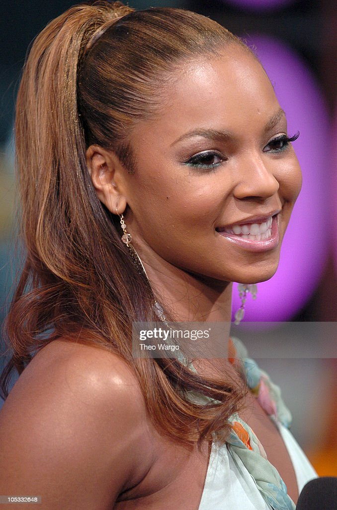 Ashanti during Ashanti, FeFe Dobson and Andy Dick Visit MTV's 'TRL' - July 12, 2004 at MTV Studios, Times Square in New York City, New York, United States.