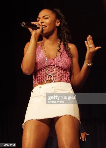 Ashanti during Queen Latifah Ashanti Sister Soulja Visit New York City to Educate Enlighten and Empower African American Teen Girls during Tampax...