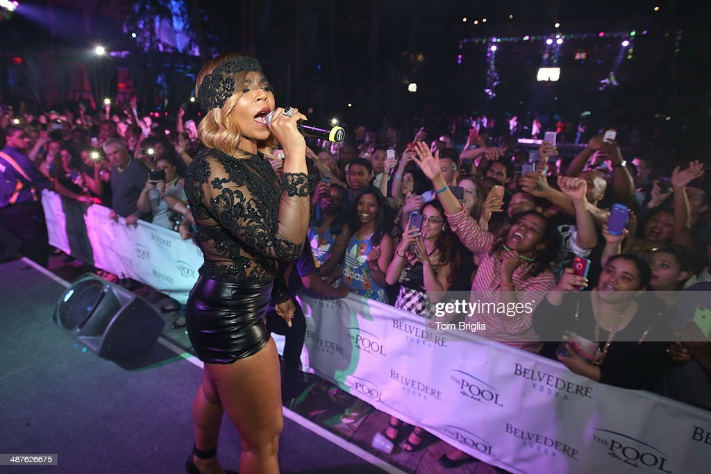 Ashanti performs at The Pool After Dark at Harrah's Resort on Wednesday April 30 2014 in Atlantic City New Jersey