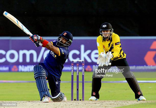 Ashar Zaidi of Essex hits out during the NatWest T20 Blast match between Essex and Gloucestershire at the Ford County Ground on June 16 2016 in...